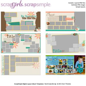 ScrapSimple Digital Layout Album Templates: 12x12 Line Em Up