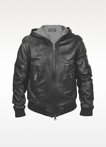 Forzieri Men's Black Leather Hooded Jacket /  love this for the oldest