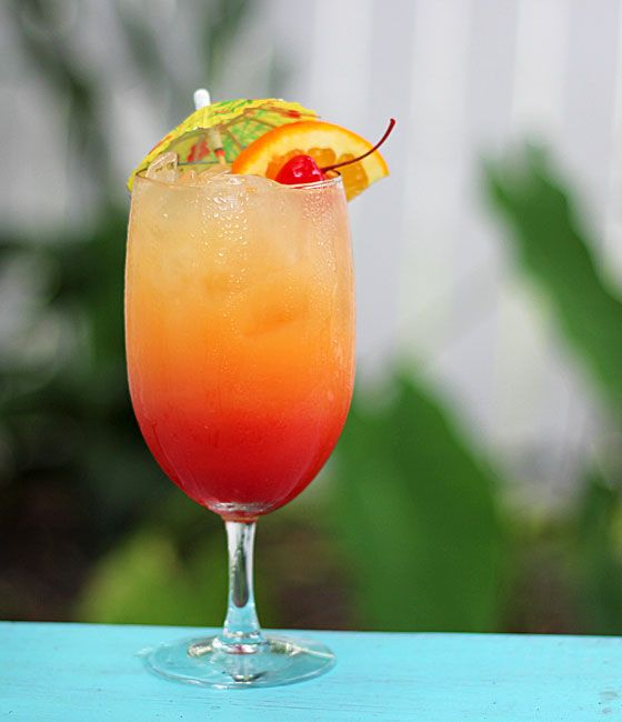 Malibu Summer Rose (1.5 oz Malibu Rum 1.5 oz peach schnapps Pineapple juice Orange juice Grenadine)