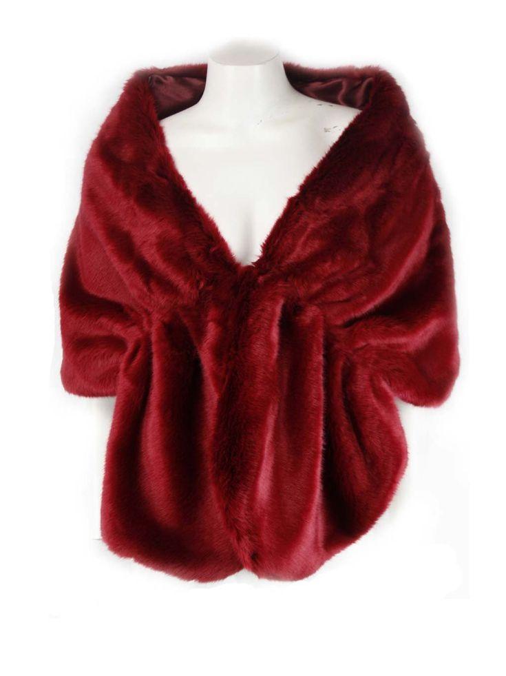 Xiamo Red Faux Fur Shawl