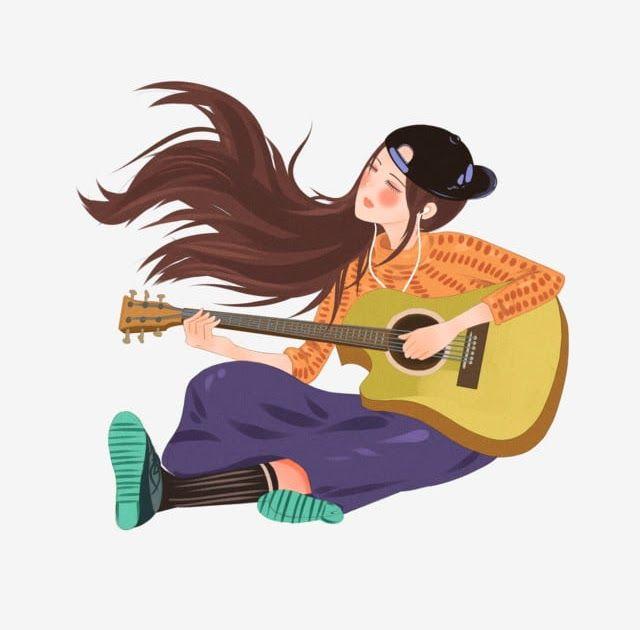28 Gambar Kartun Wanita Bermain Gitar Elemen Kartun Gadis Cantik Bermain Gitar Guitar Rambut Download Girl Cartoon Guitar Illustration Girls Illustration