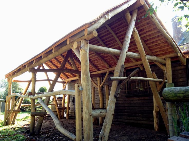 Finished roundwood horse shelter run in sheds for Cruck frame house plans
