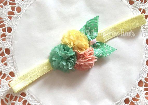Baby Headband Yellow Mint green coral flower by MylittleshopFinds