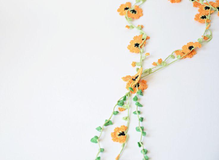Crochet Necklace, Oya , Orange Flowers, Beadwork, Crochet Jewelry, HandmadeJewelery