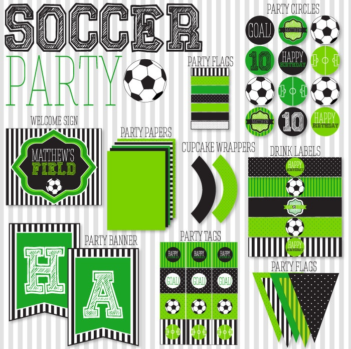 Soccer Party PRINTABLE Full Collection by Love The Day. $45.00, via Etsy.