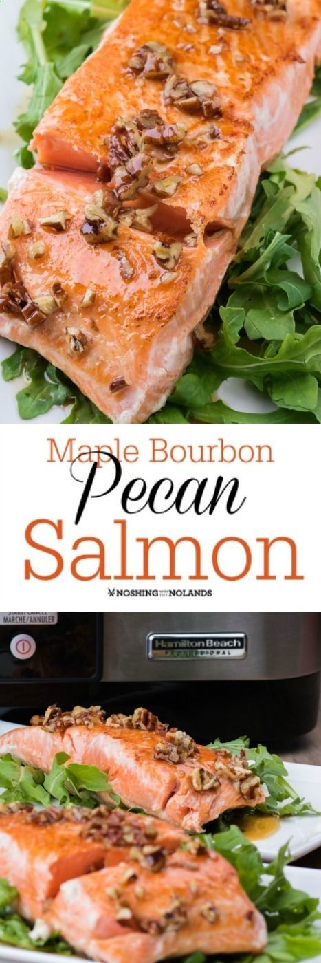 Maple Bourbon Pecan Salmon by Noshing With The Nolands will melt in your mouth. This delicious dish is so easy to make using the Hamilton Beach sous vide! #adhttp://noshingwiththenolands.com/maple-bourbon-pecan-salmon/?utm_content=buffer58612&utm_medium=social&utm_source=pinterest.com&utm_campaign=buffer