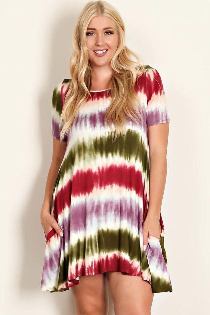 Paint Stroke Stripe Plus Size Dress 1x