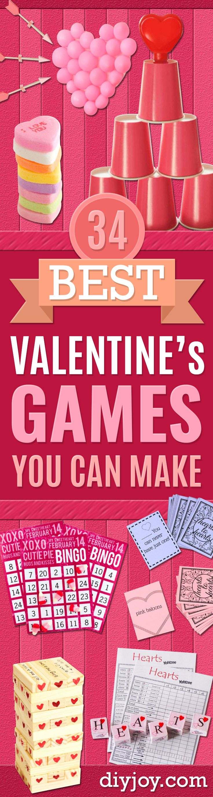 Cool Games To Make for Valentines Day - Cheap and Easy Crafts For Valentine Parties - Ideas for Kids and Adults to Play Bingo, Matching, Free Printables and Cute Game Projects With Hearts, Red and Pink Art Ideas - Adorable Fun for The Holiday Celebrations http://diyjoy.com/diy-valentines-games