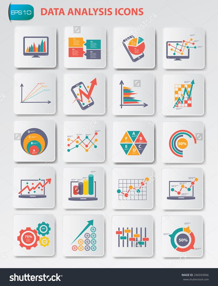 Data Analysis Icons On Buttons,Clean Vector - 246934966 : Shutterstock