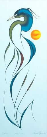 Heron in Reed by Isaac Bignell (1958-1995) kK