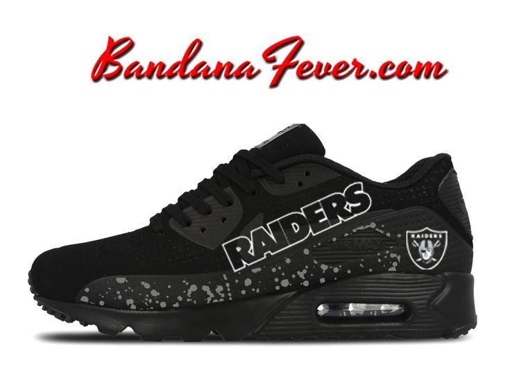 Custom Raiders Nike Air Max 90 Shoes Ultra Black, #Raiders, #raidersnation #airmax, by Bandana Fever