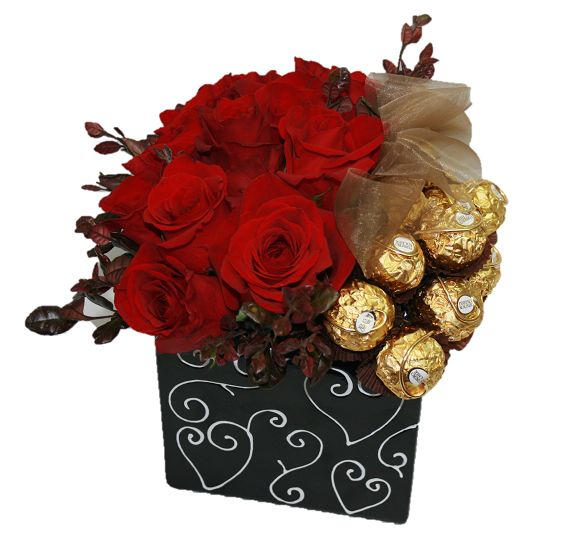 12 Red roses and Ferrero Rocher chocolates - arranged.