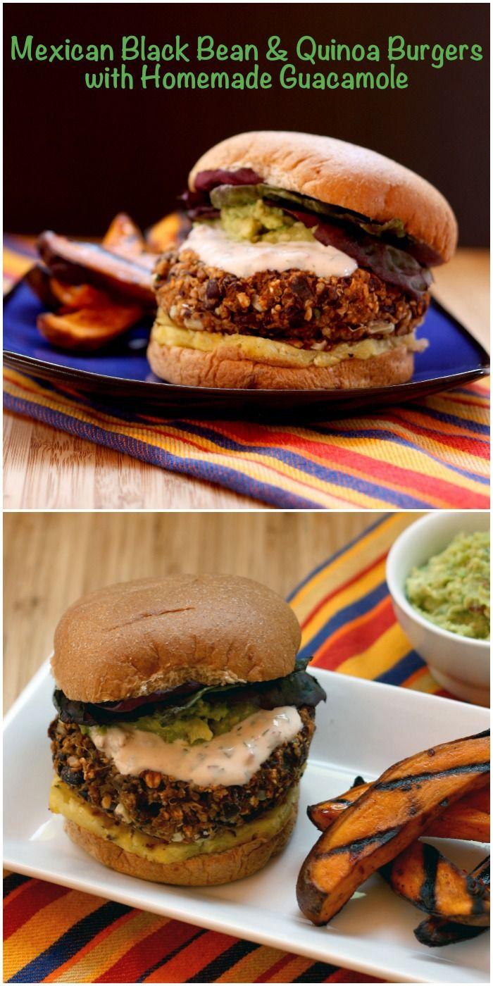 Mexican Black Bean & Quinoa Burgers with Homemade Guacamole | cupcakesandkalechips.com | #vegetarian