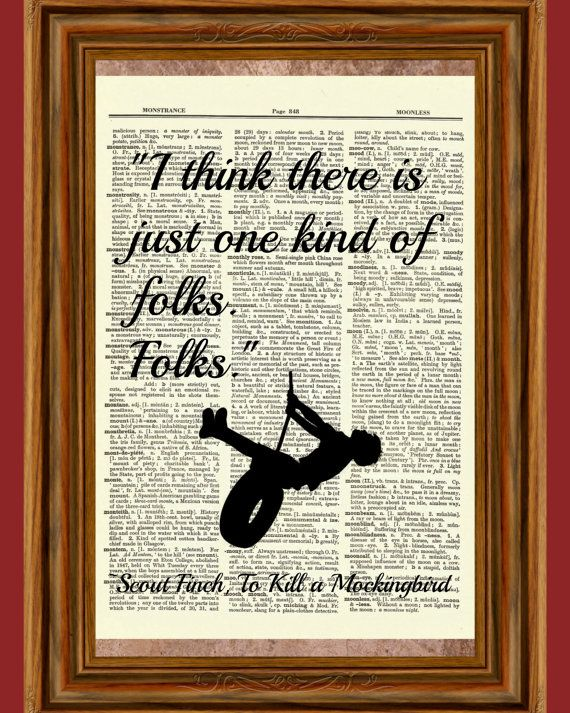 Scout Finch Quote To Kill a Mockingbird Dictionary Art Print Folks Harper Lee