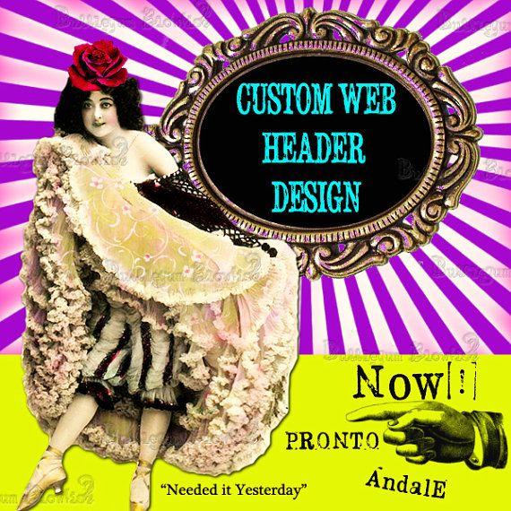 Custom Web Header Design etsy banner, Big Cartel Headers, Website Header you choose the size