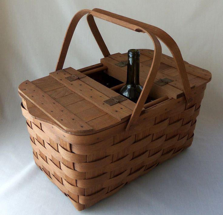 Vintage Split Wood Wine Picnic Basket