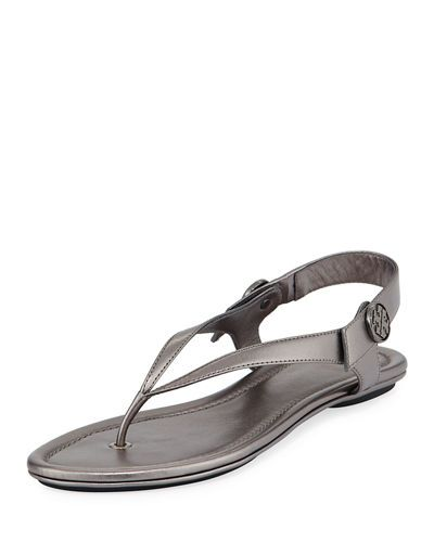 TORY BURCH Minnie Metallic Flat Travel Sandal, Gunmetal. #toryburch #shoes #