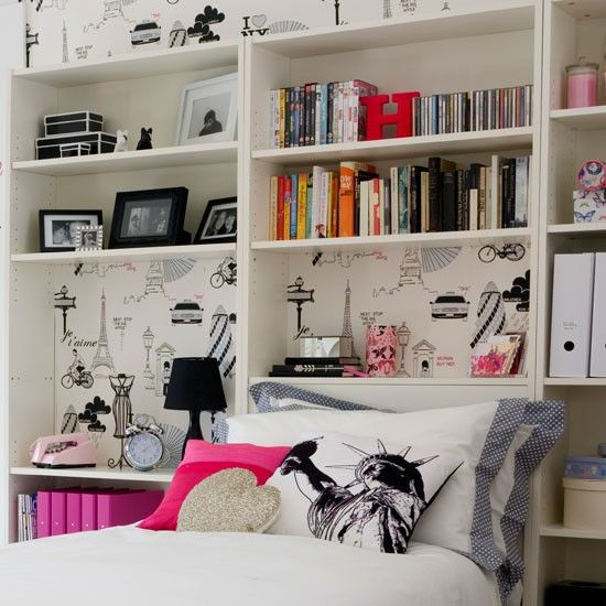 4) Add clever storage.     Girls come with a lot of stuff, so fitting as much storage into the space as you can is essential. Shelves behind the bed double as a bedside table and provide room for books and CDs. If it's time for a new bed, buy a divan with storage drawers under it.