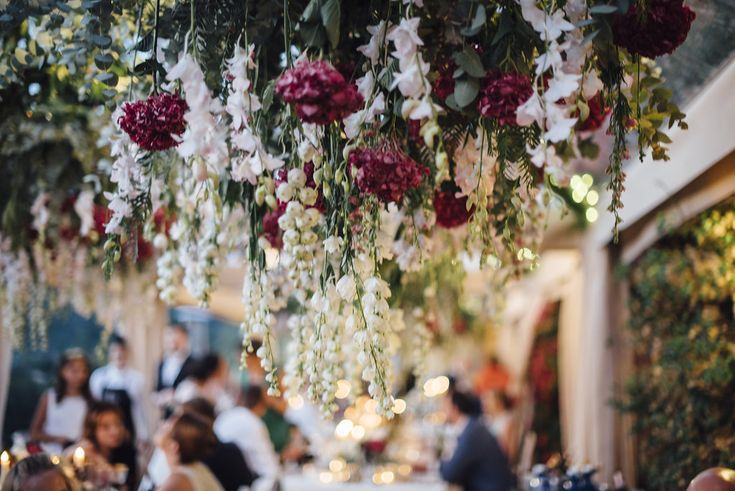 Beautiful flower ceiling for Russian Wedding in Mallorca.    Set up & Deco by Mille Papillons.    See more in www.millepapillons.com