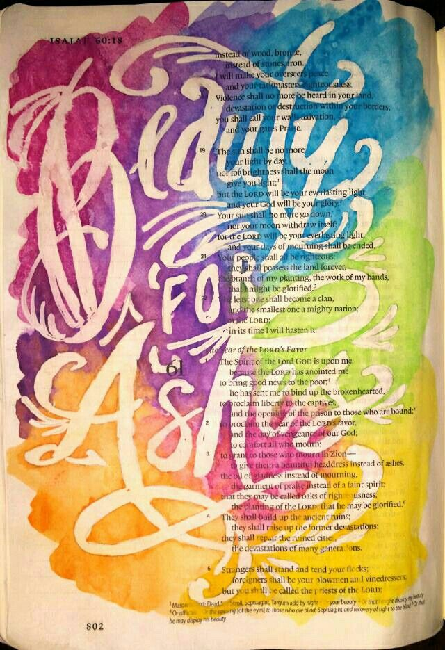 Isaiah 61 Beauty for Ashes painting Bible art journaling by @peggythibodeau www.peggyart.com
