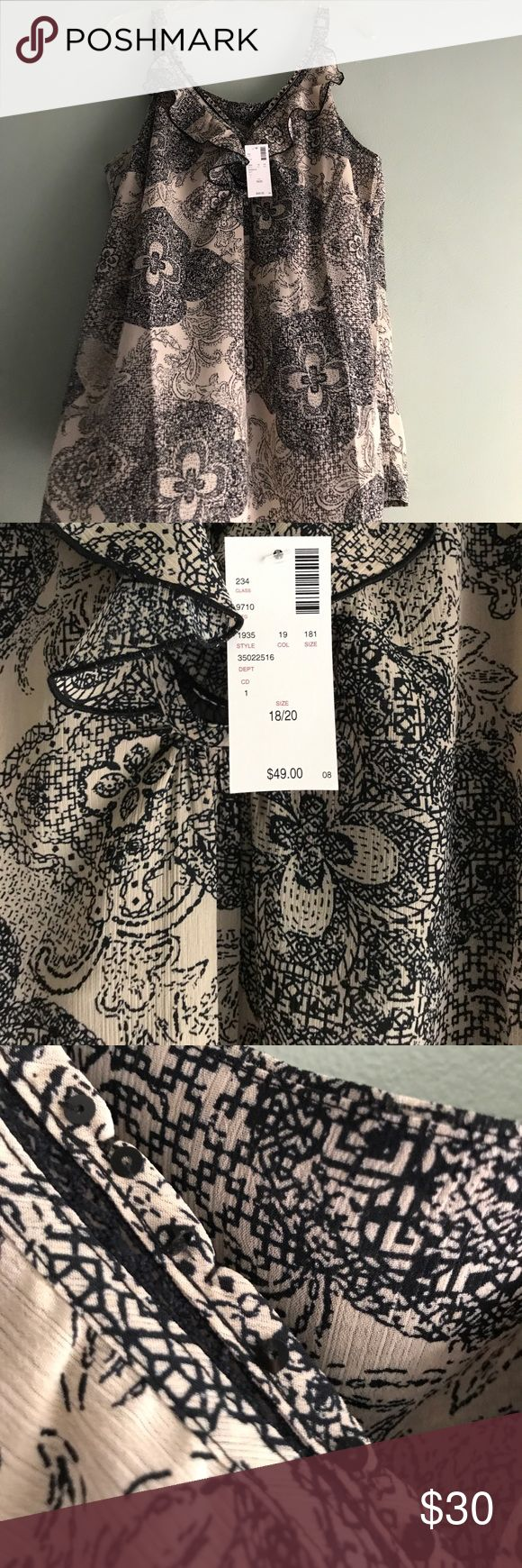 NWT black/cream plus size camisole. Great print This is a beautiful brand new black/beige ruffled camisole with a sequined v neck. Would look great with jeans, capris or even under a suit jacket.  NWT size 18/20 Avenue Tops Blouses