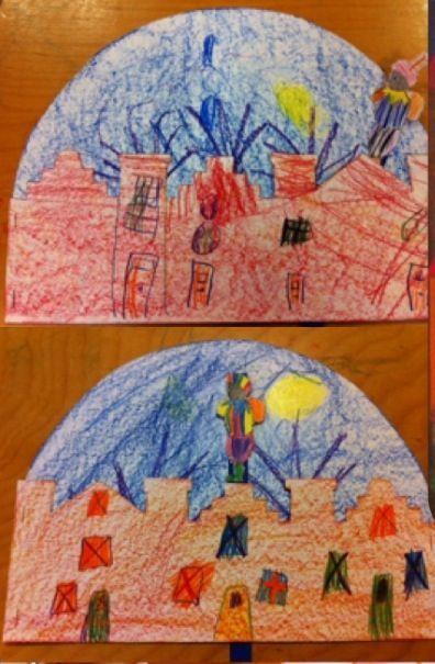 """Beweegtekening ( achtergrondtekening: maan bomen of i..d.) op de voorgrond huizen( daken zijn als reliëf geknipt) dan een pietje op een stokje ertussen en de """"voorstelling""""kan beginnen!"""