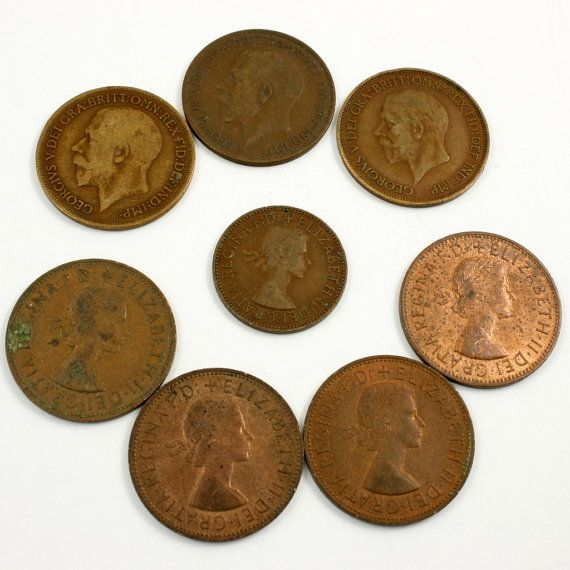 Old British Coins Penny and Half Penny Coins King by mybooms