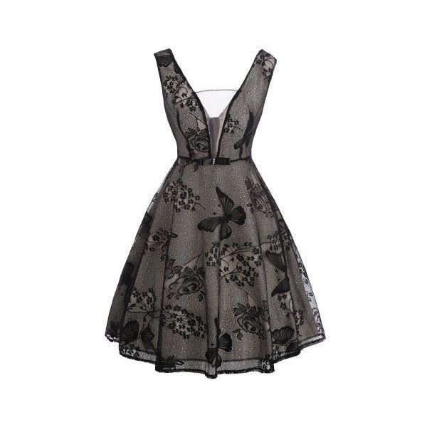 See Thru Floral Lace Vintage Overlay Dress (291.555 IDR) ❤ liked on Polyvore featuring dresses, lacy dress, floral pattern dress, floral printed dress, lace dress and vintage dresses