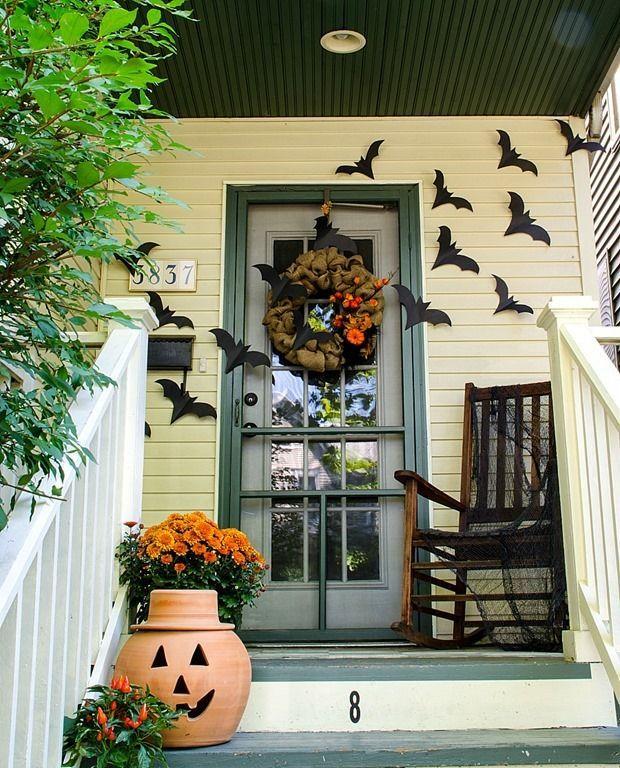 Halloween Porch Decor With Flying Bats Easy Diy Halloween