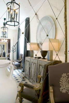 LOVING this diamond mirrored wall treatment! tres chic!...okay, so it's actually a large framed mirror at the end of a corridor, but it WOULD make an excellent wall treatment