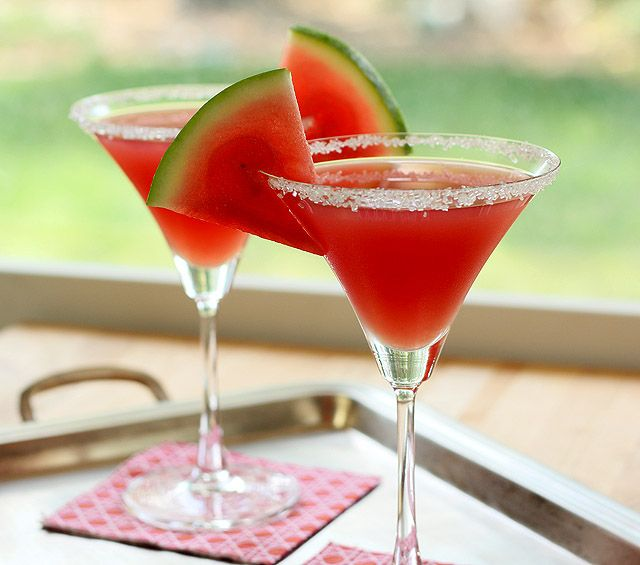 Watermelon Martini Recipe Beverages with sugar, kosher salt, watermelon juice, vodka, limoncello, fresh lime juice, ice, watermelon
