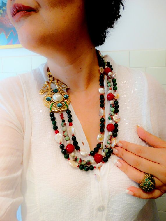 Sumptuous three strands cascade stones & pearls by RAKcreations