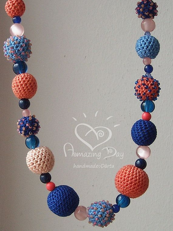 Fiber Art Necklace Blue Pink Salmon Crochet bead Necklace, Original Textile Bright Bubble Necklace, Summer 2014 Must have Jewelry, Best gift