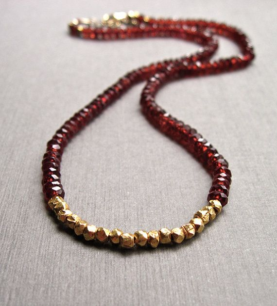 Garnet Necklace with 18K Gold Vermeil Nuggets by NellBelleDesigns,
