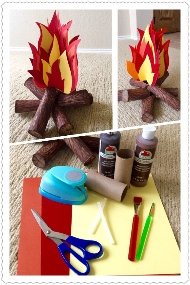 Wood Burning Fire Prop - I made this the last minute for my son's school play. Gather paper towel rolls & cut them in half. Using your hot glue gun, carefully glue the rolls one over another as in an actual log pile. Then paint & draw the wood realistically with a brown marker. Use your card stock (red, yellow & orange) & draw the fire's silhouette, then cut it out. Glue them back to back as shown in the picture above. I used a small wood dowel to sustain (glue) the fire in an upright…