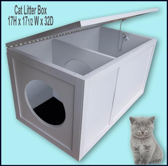 Cat Litter Box With The Opening On The Left Etsy Cat Litter Box Litter Box Hiding Cat Litter Box