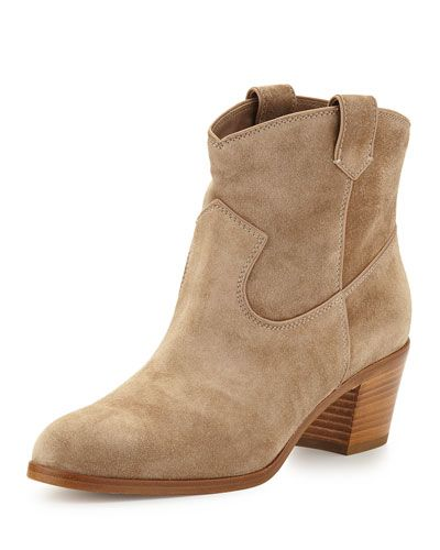 Gianvito Rossi	 Suede Western Ankle Bootie, Nude