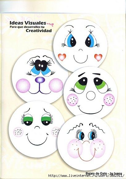 Adorable ideas for faces of dolls, drawings, animated characters, etc. & perfect to paint on your Halloween pumpkin! AND GREAT IDEAS FOR POLYMER CLAY FACE CANES!