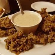 FRIED CHICKEN LIVERS  Golden Corral Copycat Recipe   Serves 4    1 pound chicken livers  1/2 cup all-purpose flour  1 teaspoon garlic sa...