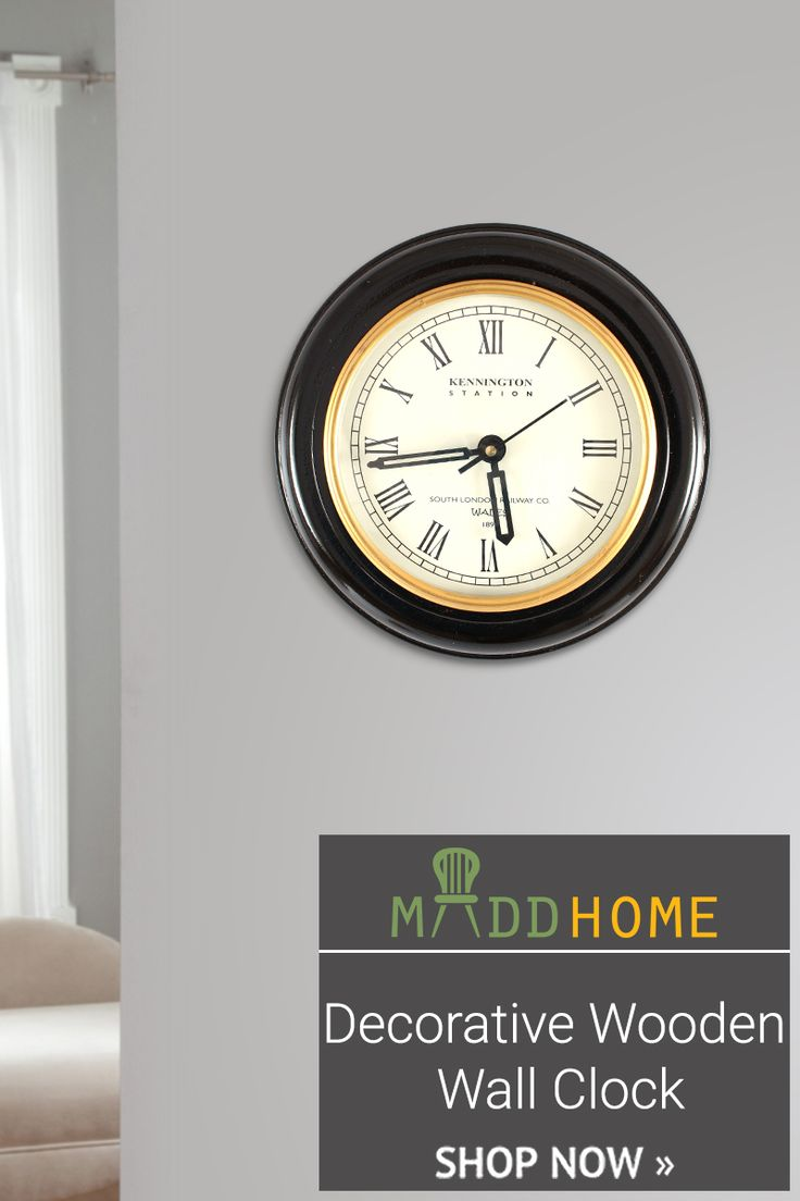 Let the good times begin! Decorative Black Wooden Wall Clock.