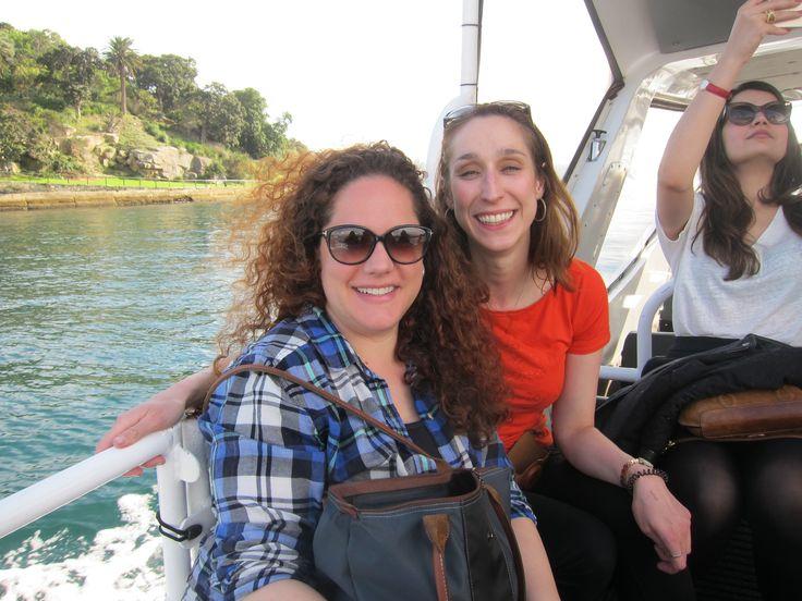 Lauren Crais and Laura Harris, boat trip to Cockatoo Island, Sydney. Photo courtesy of Laura Harris