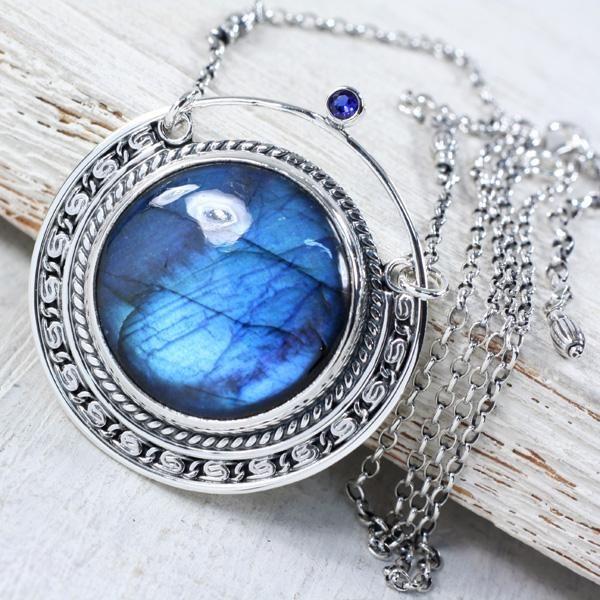 Srebrny naszyjnik z labradorytem - Naszyjniki - Biżuteria w ArsNeo