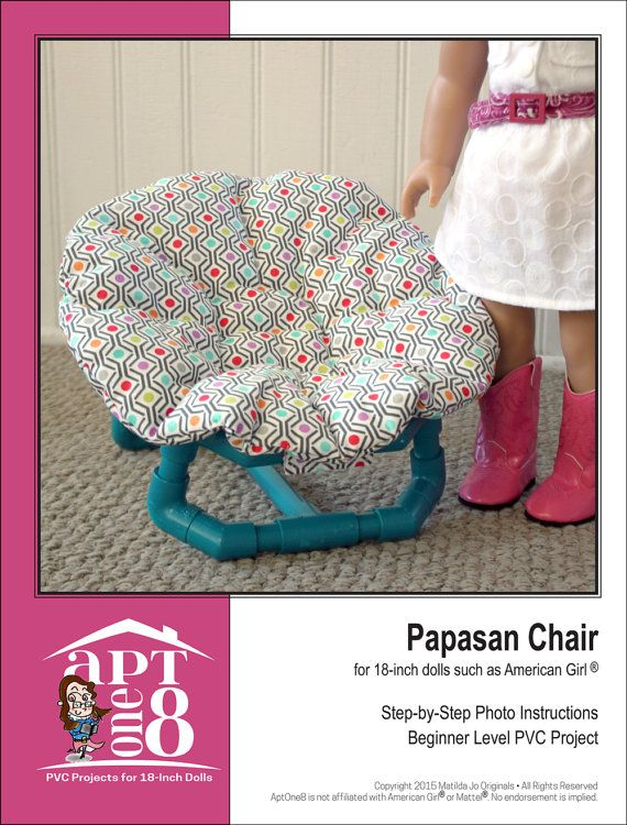 Pattern Overview: Your doll will love curling up in this cute and cozy Papasan Chair ... the perfect addition to her bedroom, dorm room or recreation area!  This PDF project pattern includes beginner-level instructions to make a chair frame from CPVC pipe, as well as step-by-step photo instructions to create the round cushion on top. The cushion attaches to the frame using fabric tabs with hook-and-loop tape, which means you could make a variety of cushions to use with the same frame…