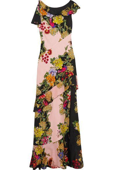 Etro - Ruffled Floral-print Crepe And Silk-chiffon Maxi Dress - Pink - IT38