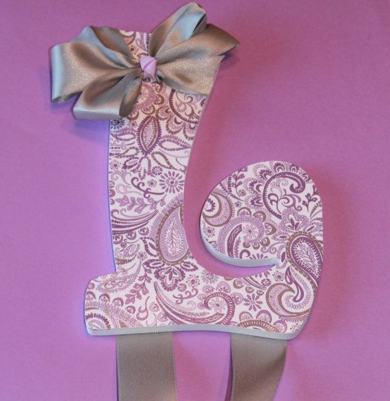 Letter L Purple and Gray hair bow hanger by MissyKrissysBoutique