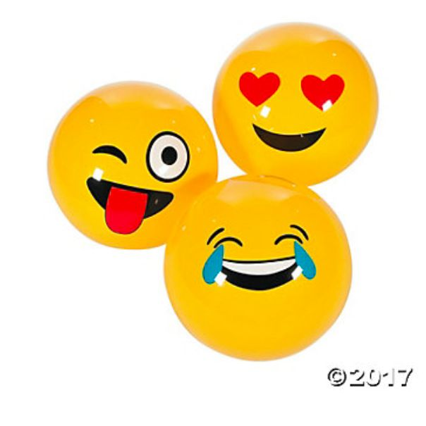 "Emoji Large Inflatable Balls 18"" - 6Pk Party Supplies Canada - Open A Party"