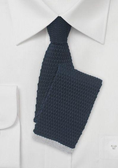 Strick-Krawatte schwarzblau silber