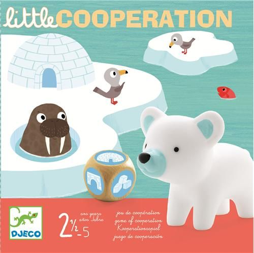 Jeu de coopération - Sur la banquise, 4 petits animaux tentent de regagner leur igloo. Attention car le pont de glace menace de s'écrouler. Un jeu qui se joue en coopération pour apprendre à jouer et à gagner tous ensemble.3 ans