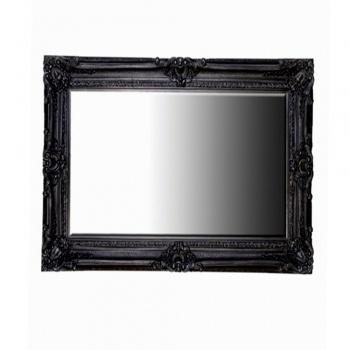 Shiny Black Ornate Swept Mirror