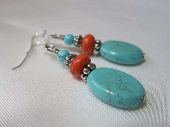 Turquoise Howlite Earrings, Handmade Beaded Earrings, Orange, Sterling Silver Ear Wire, Handmade Beaded Jewelry